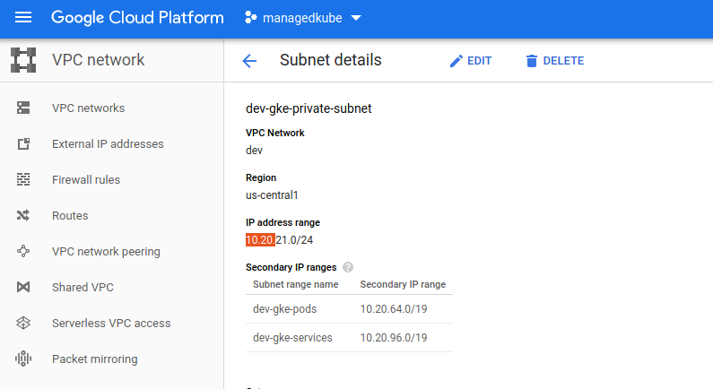 gcp console subnet details